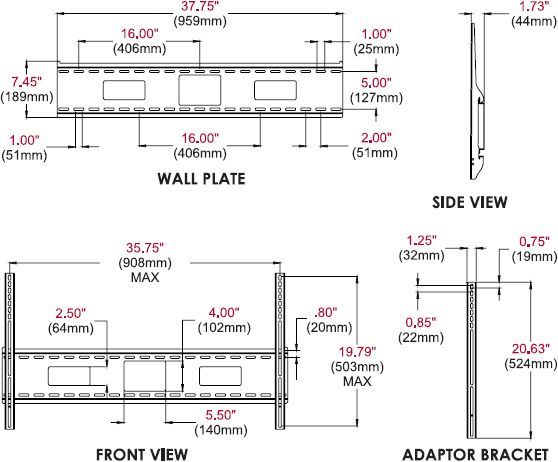 Technical drawing for Peerless SF670 SmartMount Universal Flat Wall Mount