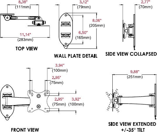 "Technical drawing for Peerless SP730P SmartMount Pivoting Wall Mount for 10-29"" Display"