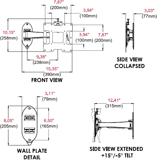 Technical drawing for Peerless SP740P SmartMount Pivoting Wall Mount for 22