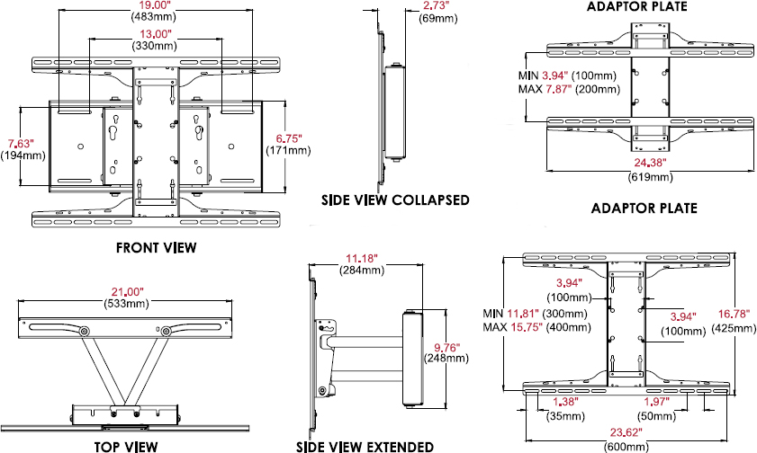 Technical drawing for Peerless SP850-UNL/SP850-UNLP Universal Pull-out Pivot Wall Mount