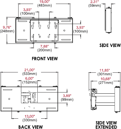 "Technical drawing for Peerless SP850 Pull-out Pivot Wall Mount for 32""-80"" Display"