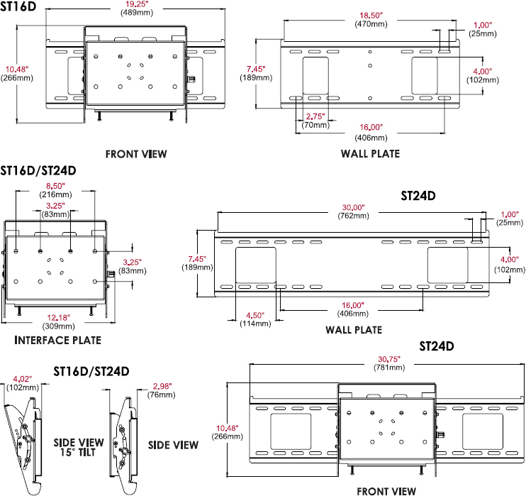 Technical drawing for Peerless SF16D or SF24D Display-Specific Flat Wall Mount up to 71""