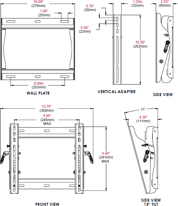 "Technical drawing for Peerless ST635 or ST635P Universal Tilt Wall Mount 13-37"" Display"