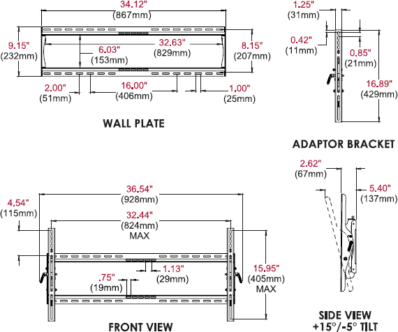 Technical drawing for Peerless ST660 or ST660P SmartMount Universal Tilt Wall Mount