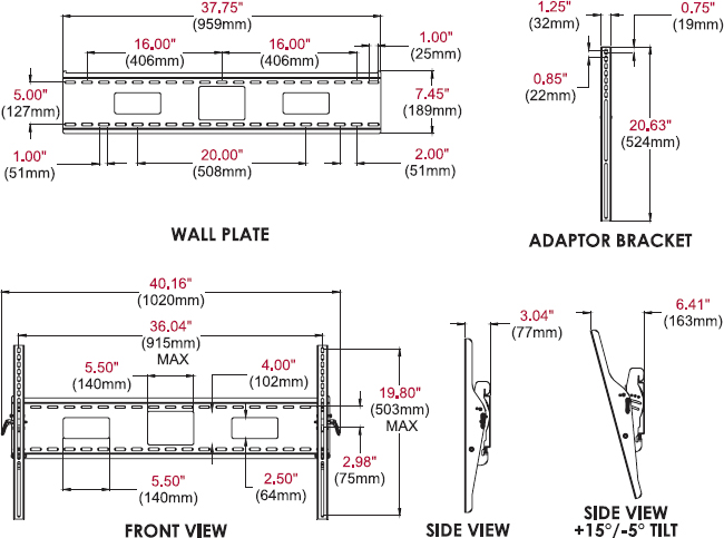 Technical drawing for Peerless ST670 or ST670P SmartMount Universal Tilt Wall Mount