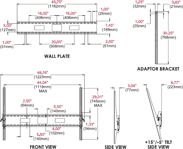 Technical drawing for peerless ST680 SmartMount Universal Tilt Wall Mount