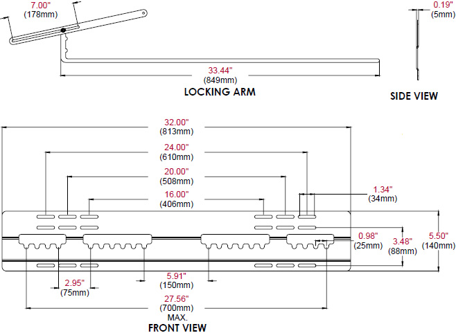 Technical drawing for  Peerless SUF651 Universal Ultra Slim Flat Wall Mount, 37