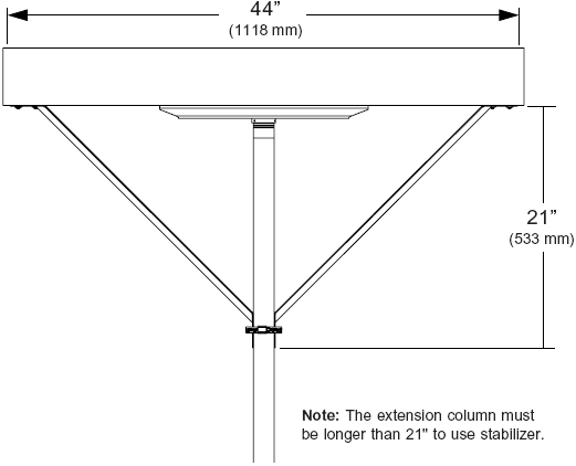 Technical drawing for  Peerless ACC050 Extension Column Stabilizer Kit
