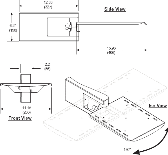Technical Drawing for Peerless ACC 314 Laptop Arm for Carts and Stands