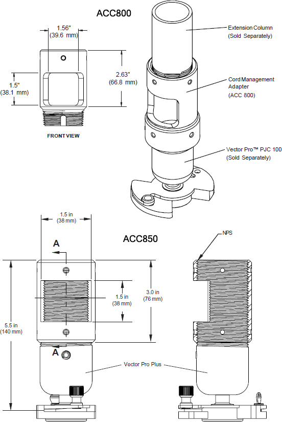 Technical drawing for  Peerless ACC800 or ACC850 Extension Column Connector with Cord Management