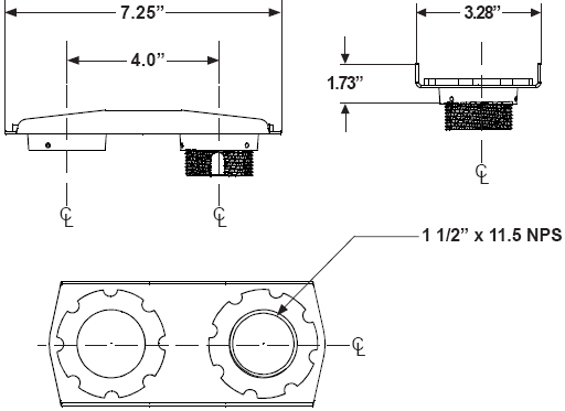 Technical drawing for Peerless ACC830 Side to Side Adjuster Adapter for Projector Mount