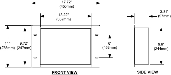 Technical Drawing for Peerless IBA1 In-Wall Box for Audio Video Accessories