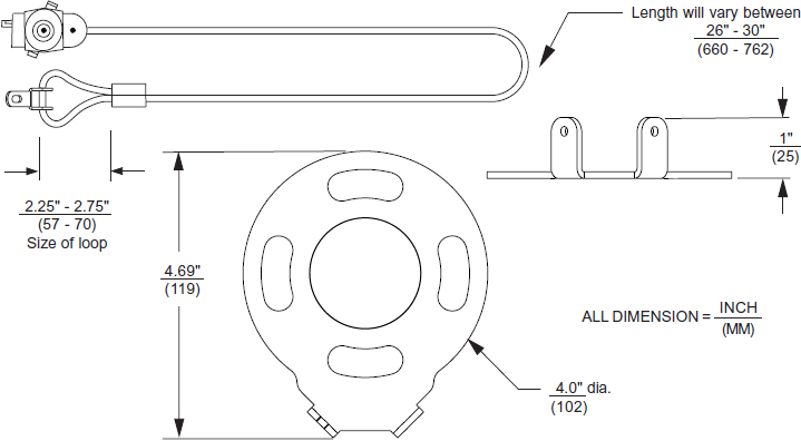 Technical drawing for Peerless ACC020 Armor Lock Plus Security Cable with Keylock