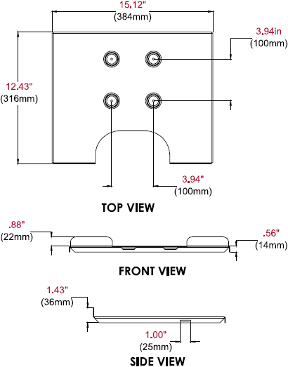 Technical drawing for  Peerless ACC328 Laptop Tray for Monitor Mounts