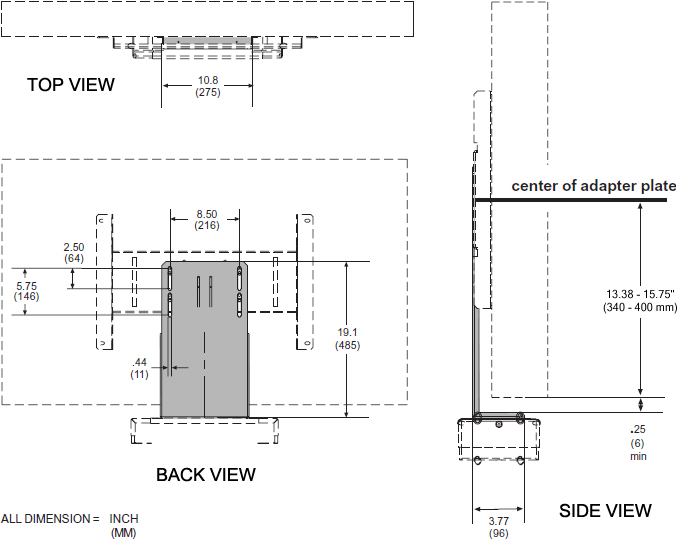 Technical drawing for  Peerless ACC931 DVD or VCR Audio Video Mount Connector