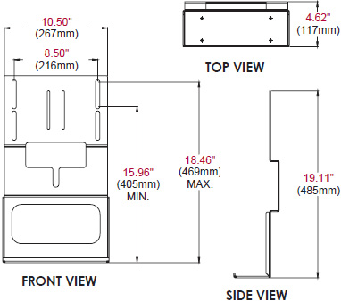 Technical drawing for  Peerless ACC951 Audio Video Component Shelf Accessory Bracket