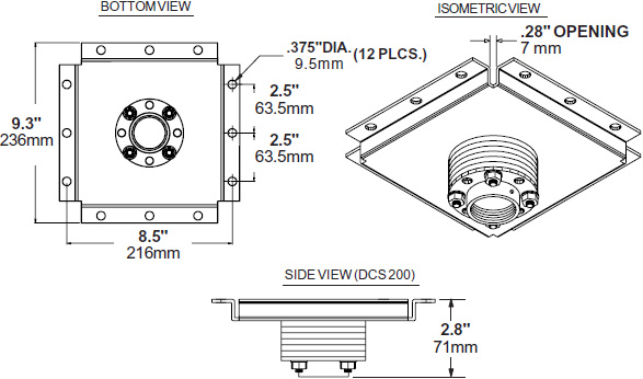 Technical drawing for  Peerless DCS200 Structural Ceiling Adaptor with Stress Decoupler