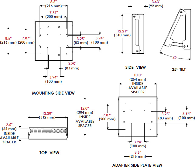 Technical drawing for Peerless DSX750 Media Player Holder Accessory for 32