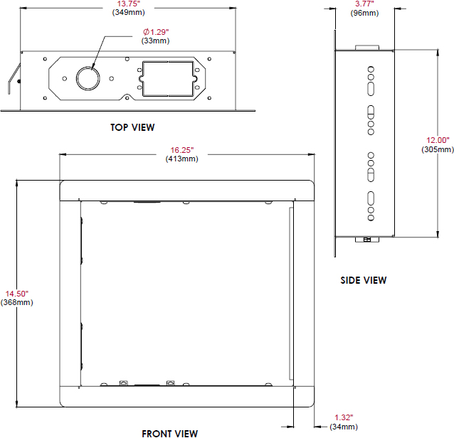 Technical drawing for Peerless IB40 In-Wall Box for up to 40
