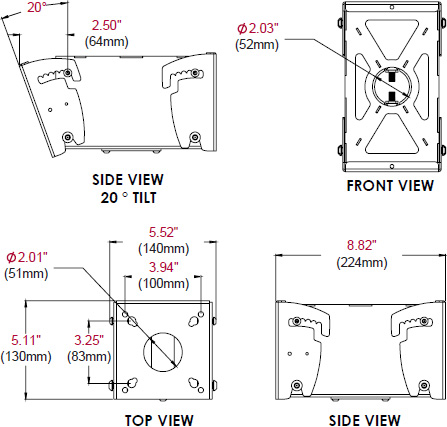 Technical drawing for  Peerless MOD-FPMD Back-to-Back Display Mount for 10