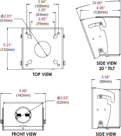 Technical drawing for  Peerless MOD-FPMS Single Display Mount for 10