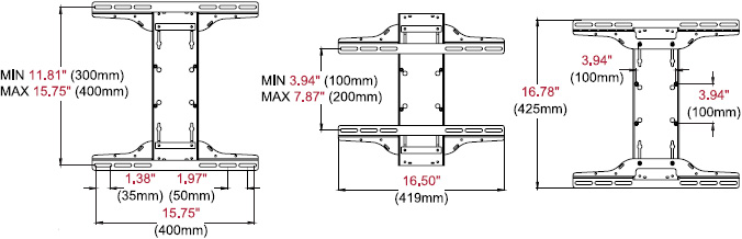 Technical drawing for Peerless PLP-UNM Universal I-Shaped Adaptor for 22