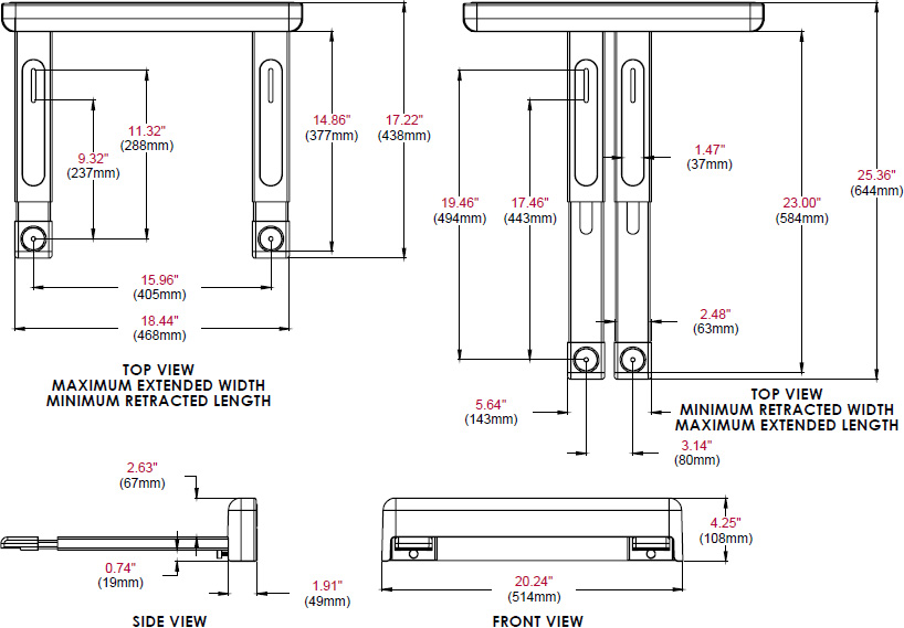 Technical drawing for Peerless PS200 Adjustable Shelf for Audio Video Components