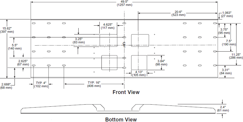 Technical drawing for                   Peerless WSP724 Triple Metal Stud Wall Plate