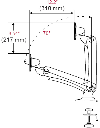 Technical Drawing for Peerless LCT-A1B2C Desktop One Link Pivot Arm Mount Clamp