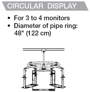 Peerless MDJ760 Flat Panel LCD Multi-display Circular Ceiling Mounts for 32-50 feet LCD and Plasma Screens