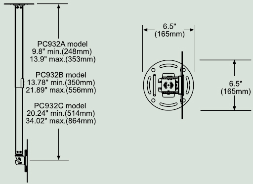 "Dimensional Diagram for PC-932A Paramount ceiling Mount for 15""- 37"""