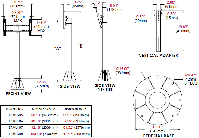 Technical Drawing for Peerless EPMU 5 to 8 feet Wind Rated Pedestal Tilt Mount