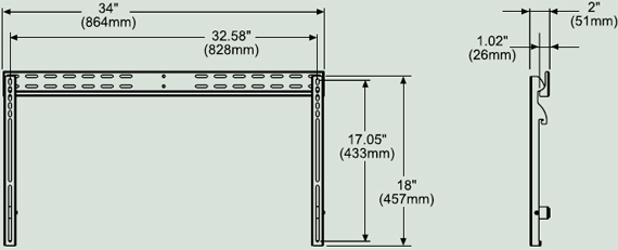 "Dimensional Diagram for PFT 660 Paramount Tilt Mount for 37""-60"" Screen"