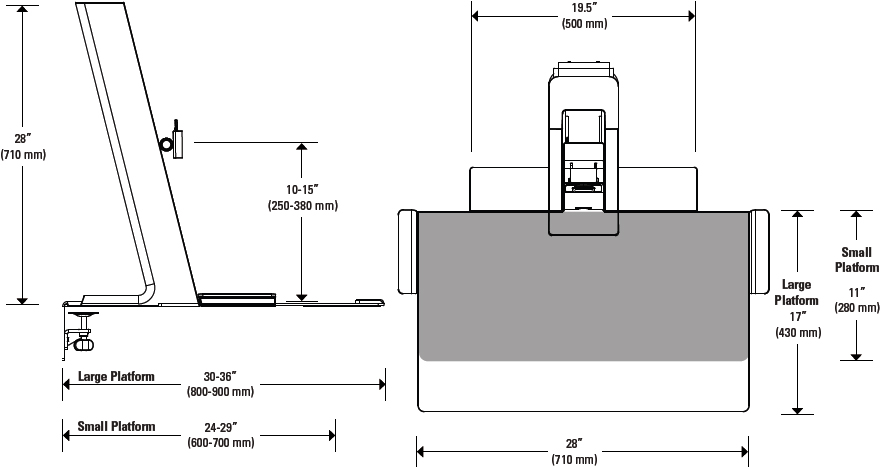 Technical drawing for Humanscale QuickStand Light Workstation with Small Platform